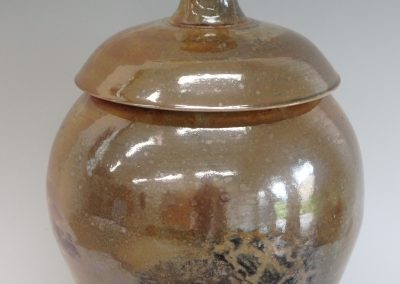 "Item #318  Lidded Shino Jar  16""x 9 1/2""   $295"