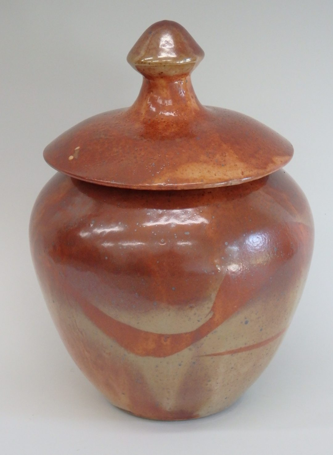 "Item #300  Shino Lidded Vase  10 1/2"" x 7""   $145"