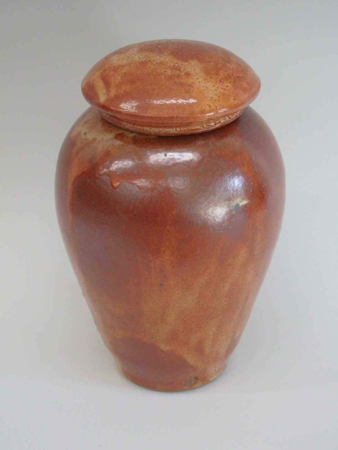 "Item # 303  Shino Lidded Jar  9 1/2"" x 5 3/4""   $110"