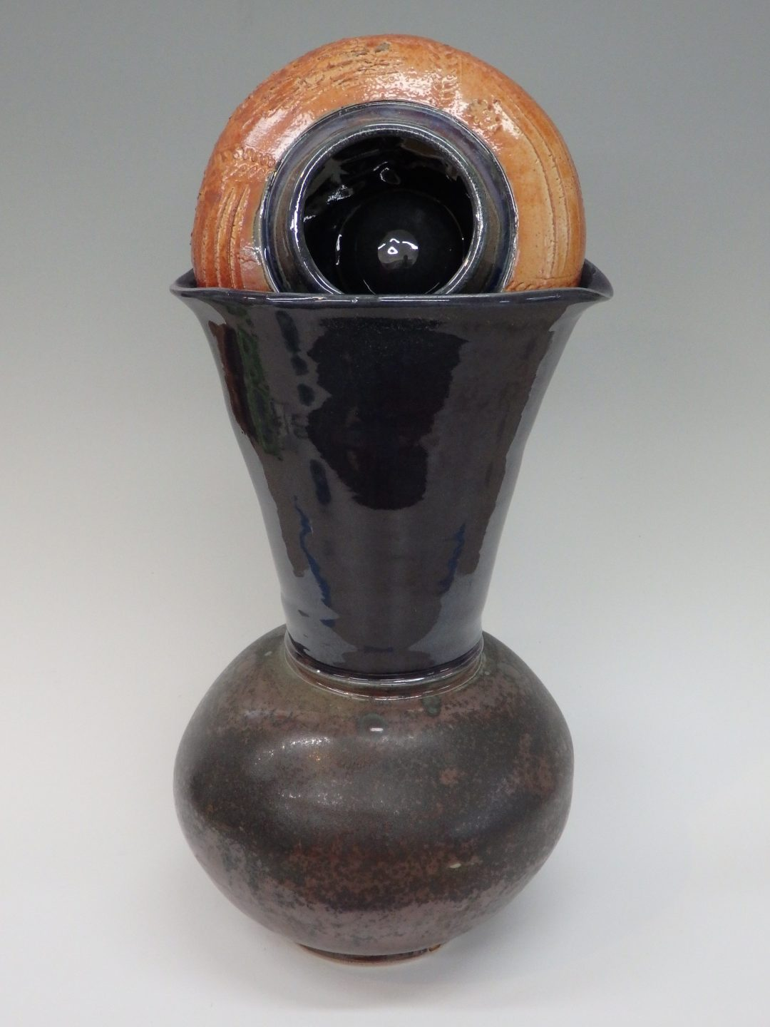 Item #326  Sculpture, Pot with in a Pot with in a Pot  22″ x 9 1/2″  $325