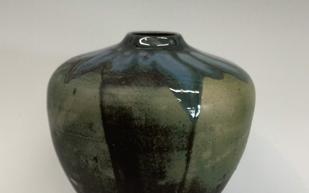 Item #343  Jar with glass accents 8 1/2″X 8 3/4″  $110